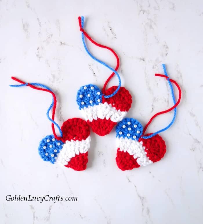 Crochet patriotic hearts, American flag hearts