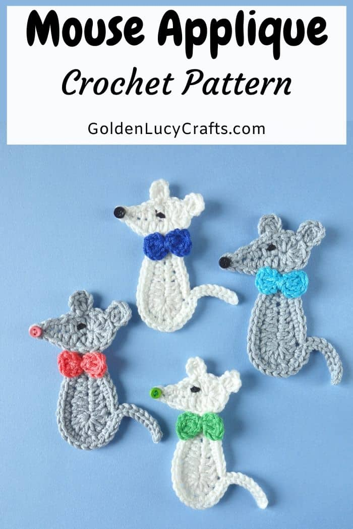 Crochet mouse applique
