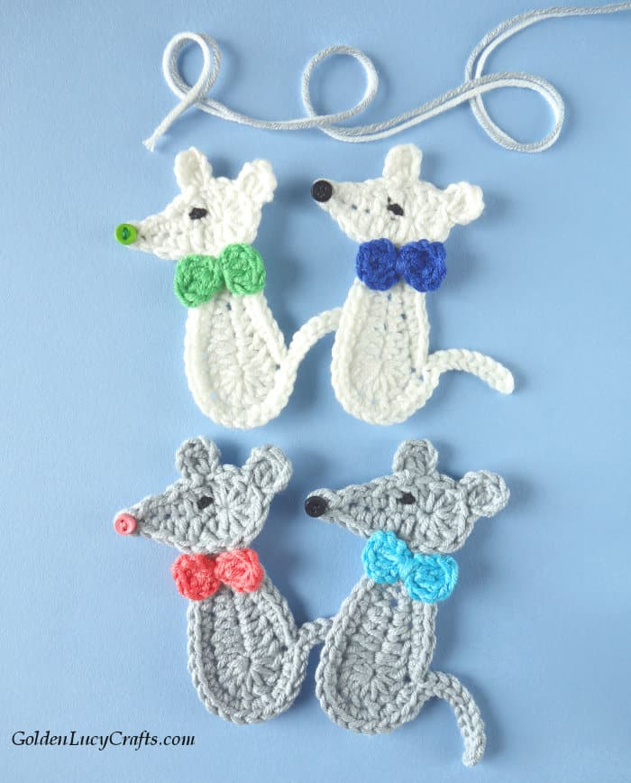 Crochet mouse appliques, white and grey mice