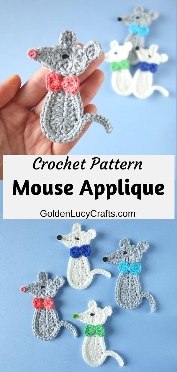 Mouse applique crochet pattern