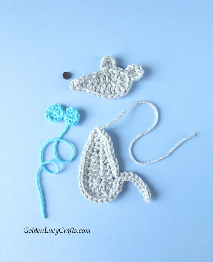 Mouse applique pieces - head, body and bow
