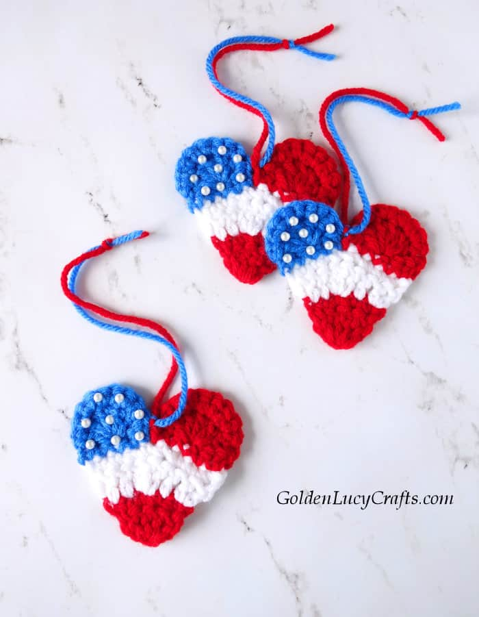 Crochet patriotic 4th of July heart ornaments