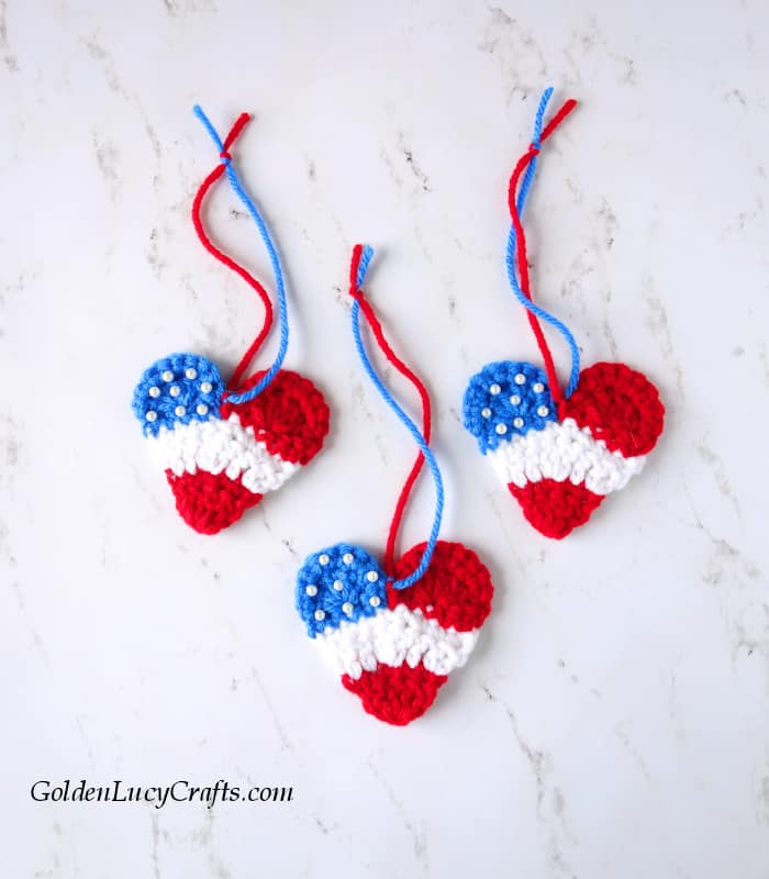 Crochet patriotic heart