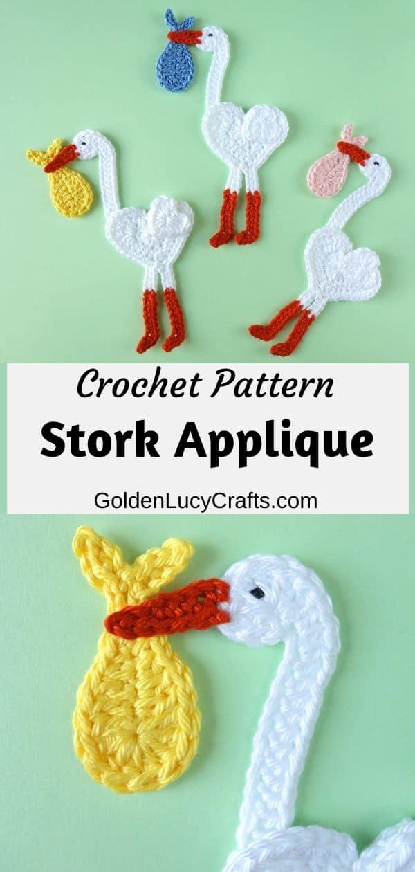 Crochet stork appliques, heart shaped stork carrying baby bundle.