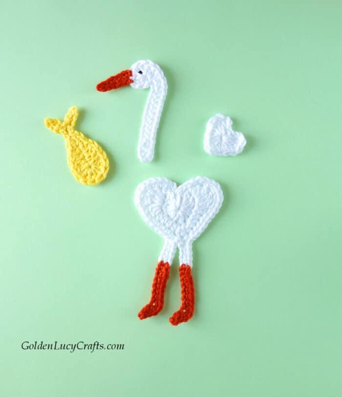 Crochet stork applique - parts