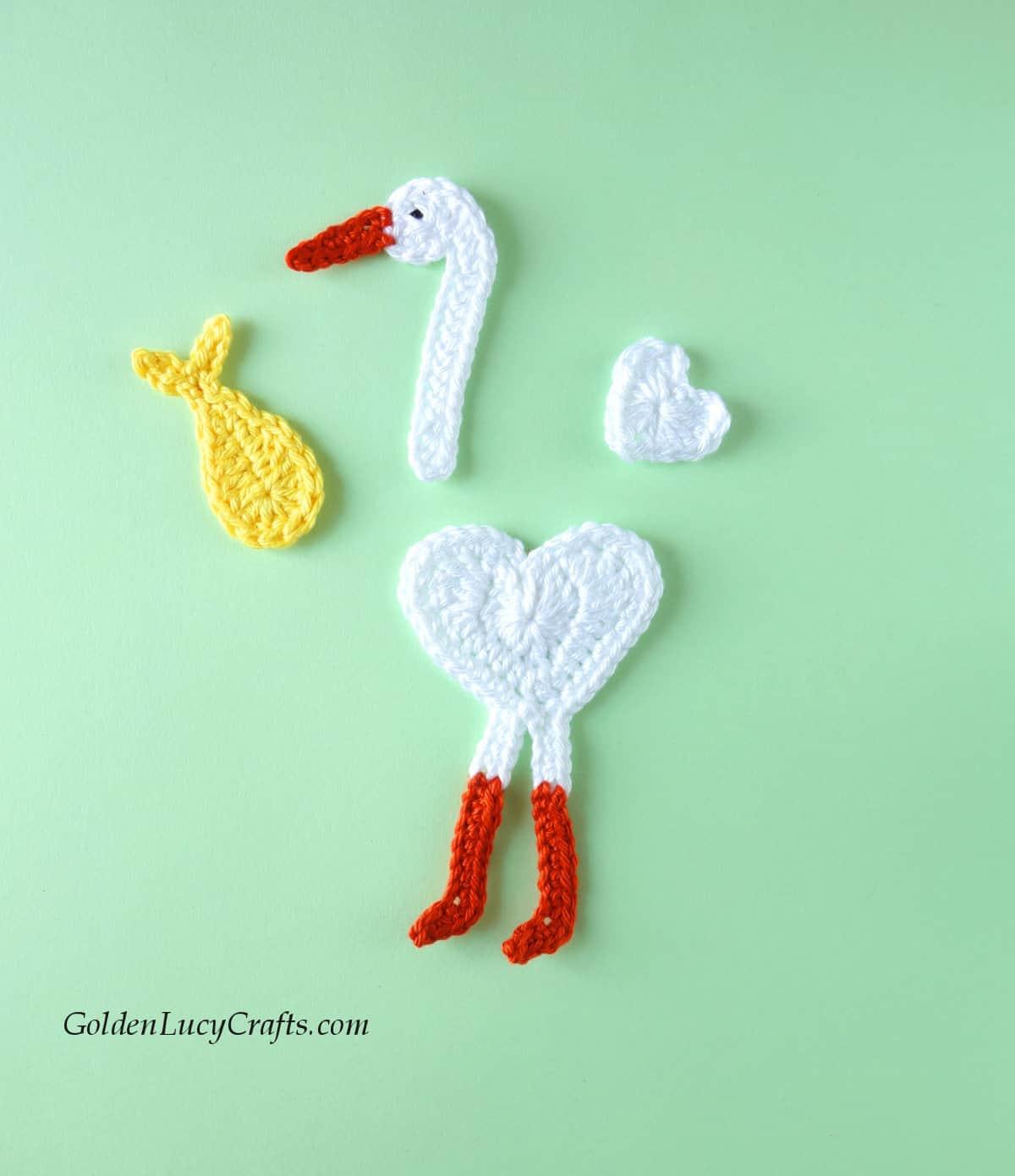 Crochet stork applique - parts.
