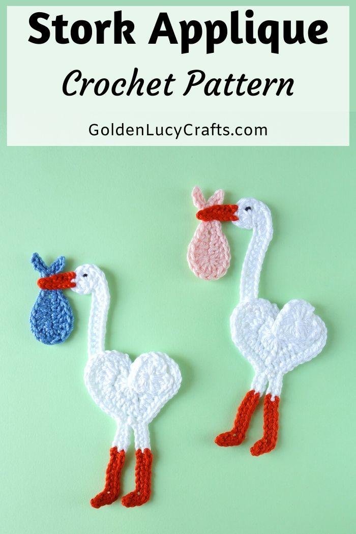 Stork applique crochet pattern