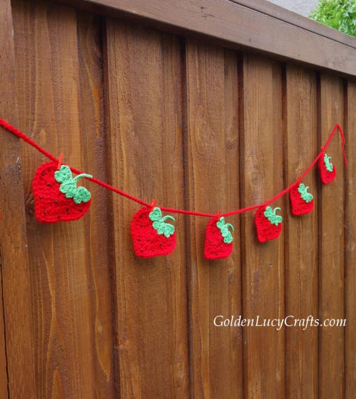 Crochet heart strawberry garland