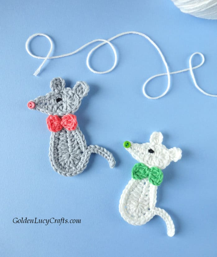 Crochet grey and white mice, applique