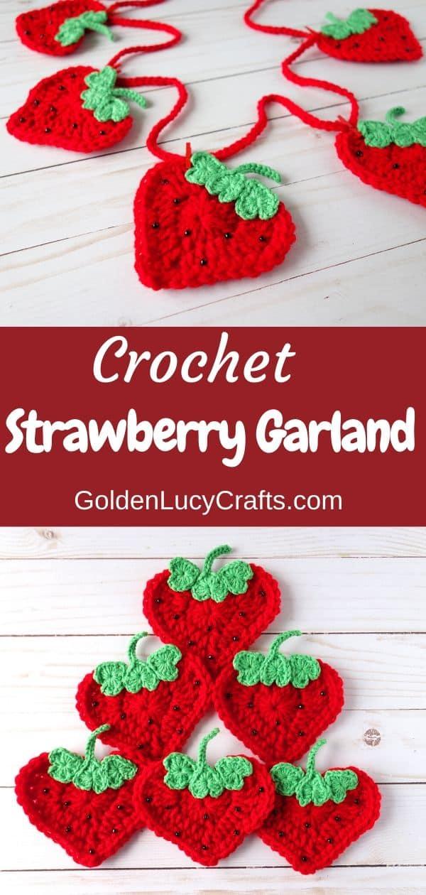 Crochet Strawberry garland, home decoration