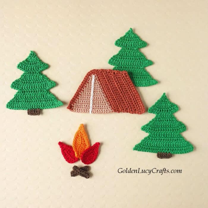 Crochet tent, fire and fur trees applique.