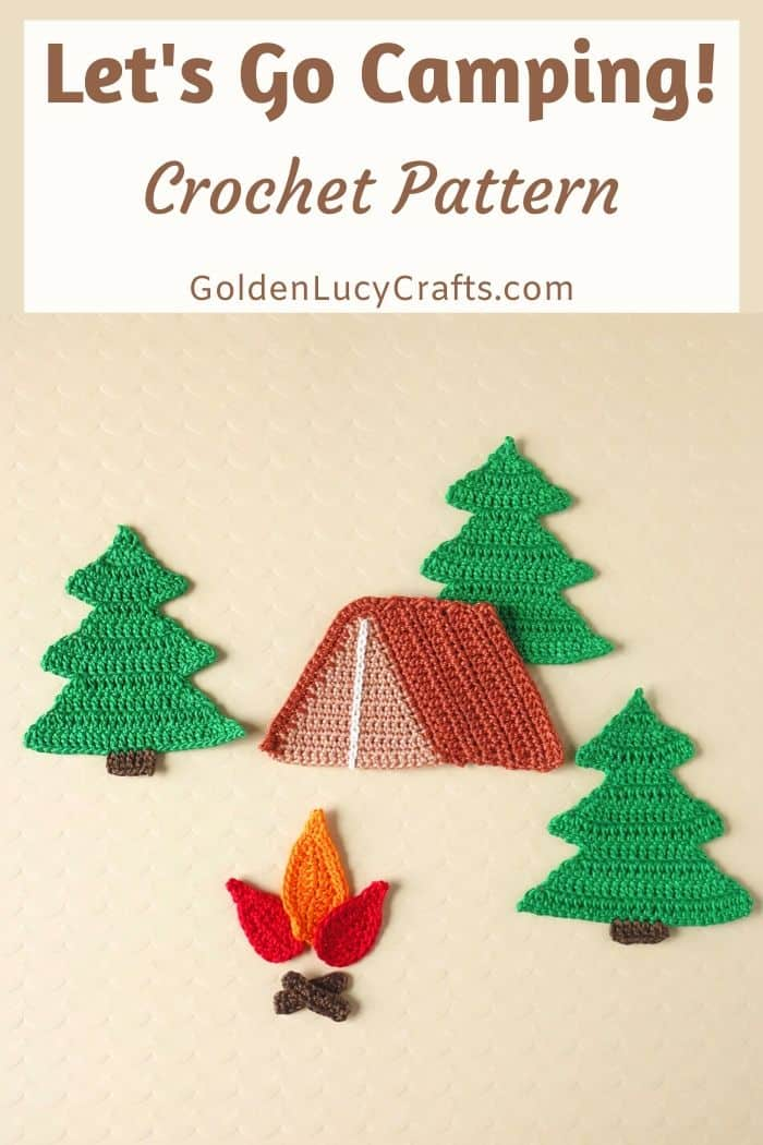 Crochet camping applique