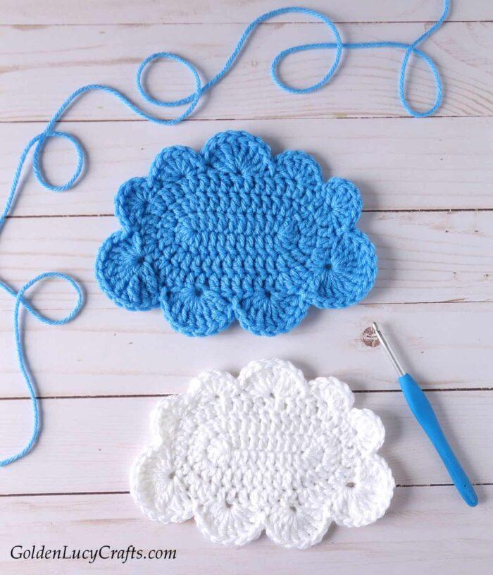 Crochet large cloud applique, free crochet pattern