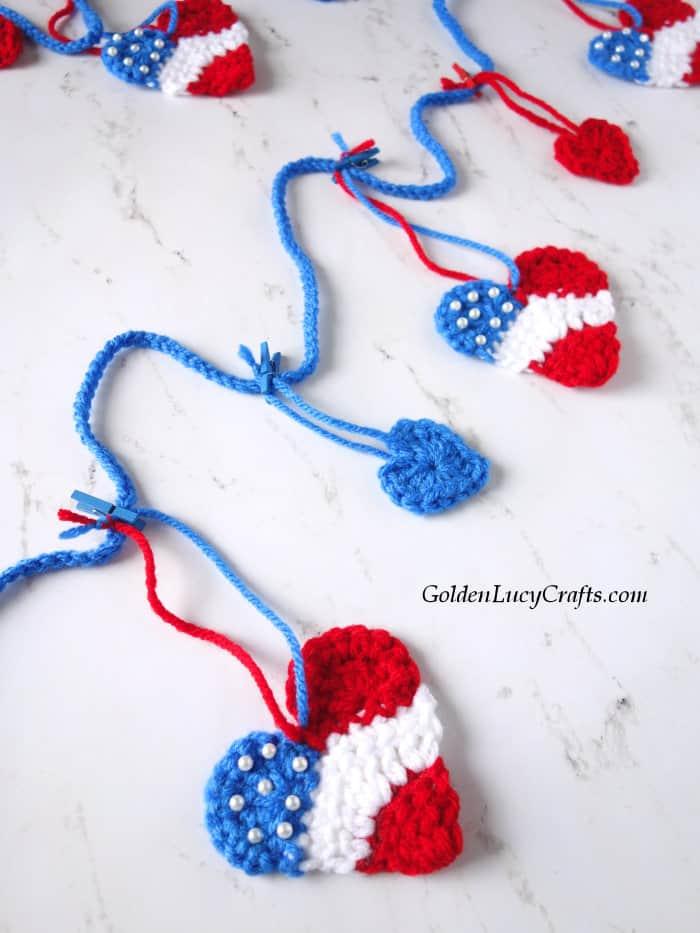 Crochet hearts patriotic garland, 4th of July home decor
