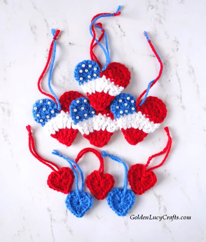 Crochet heart ornaments, red, white and blue hearts, 4th of July hearts