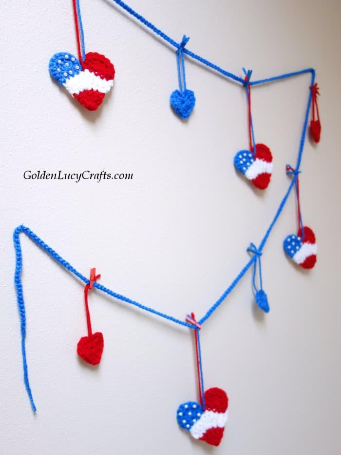 Crochet patriotic garland, bunting, DIY home decor
