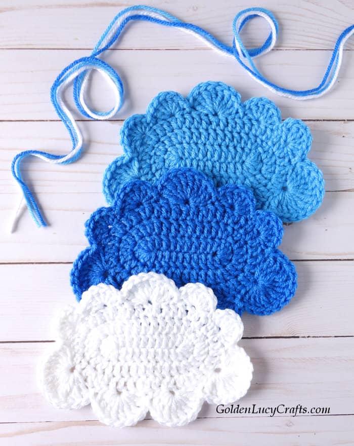 Crochet cloud - applique, motif
