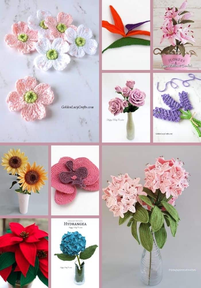 Crochet realistic flowers photo collage.