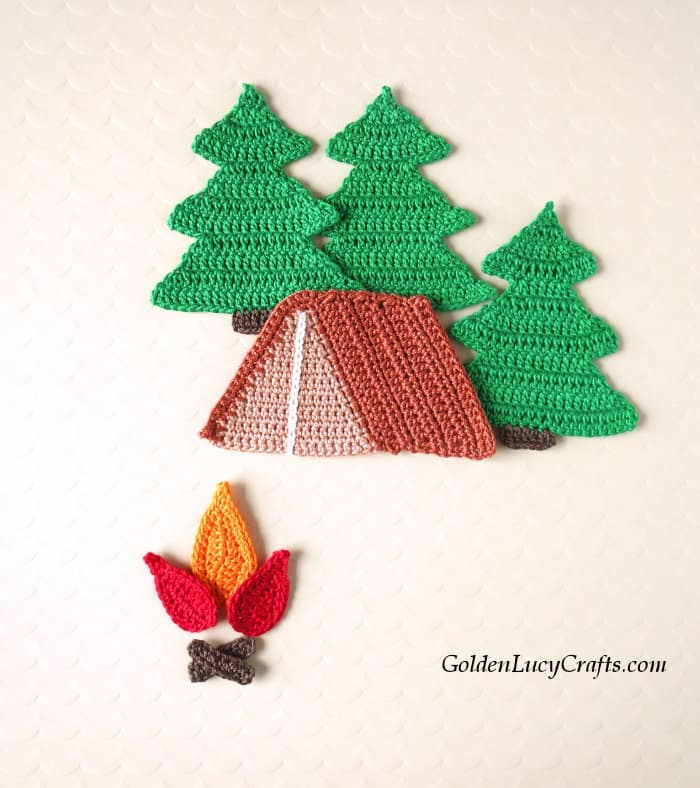 Crochet camping applique.
