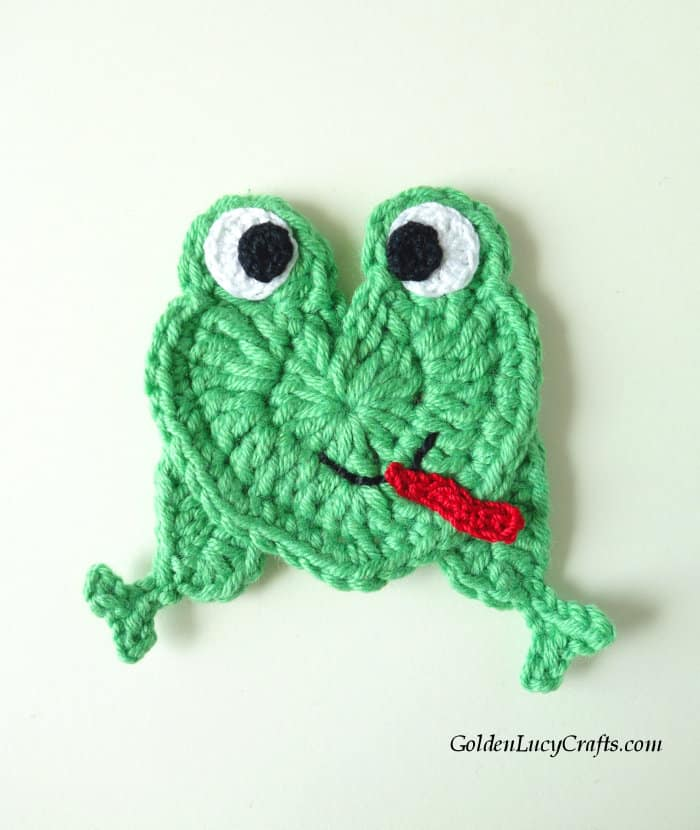 Frog with crocheted eyes