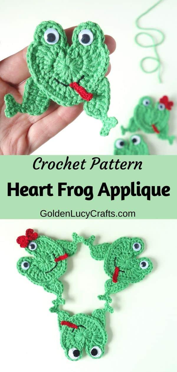 Crochet frog applique, heart-shaped frog, free crochet pattern