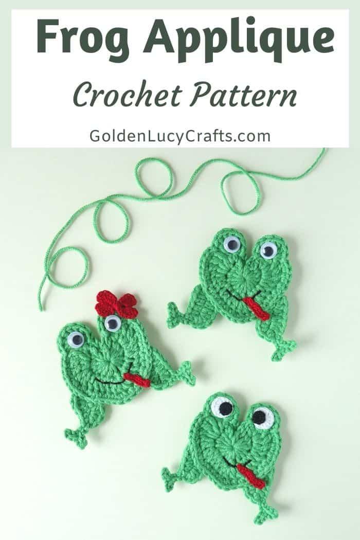 Frog applique crochet pattern