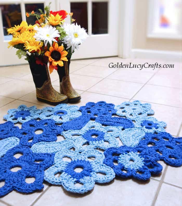 Crochet rug pattern, flower rug