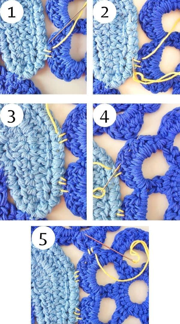 Crochet rug, assembling motifs