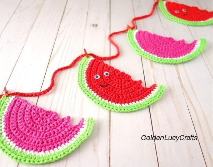 Crochet watermelon garland