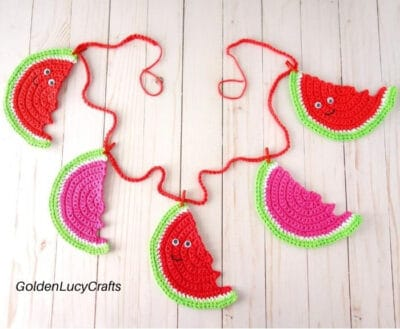 Crochet watermelon garland