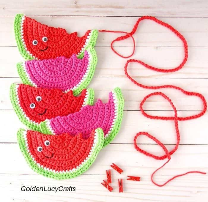 Making crochet watermelon garland