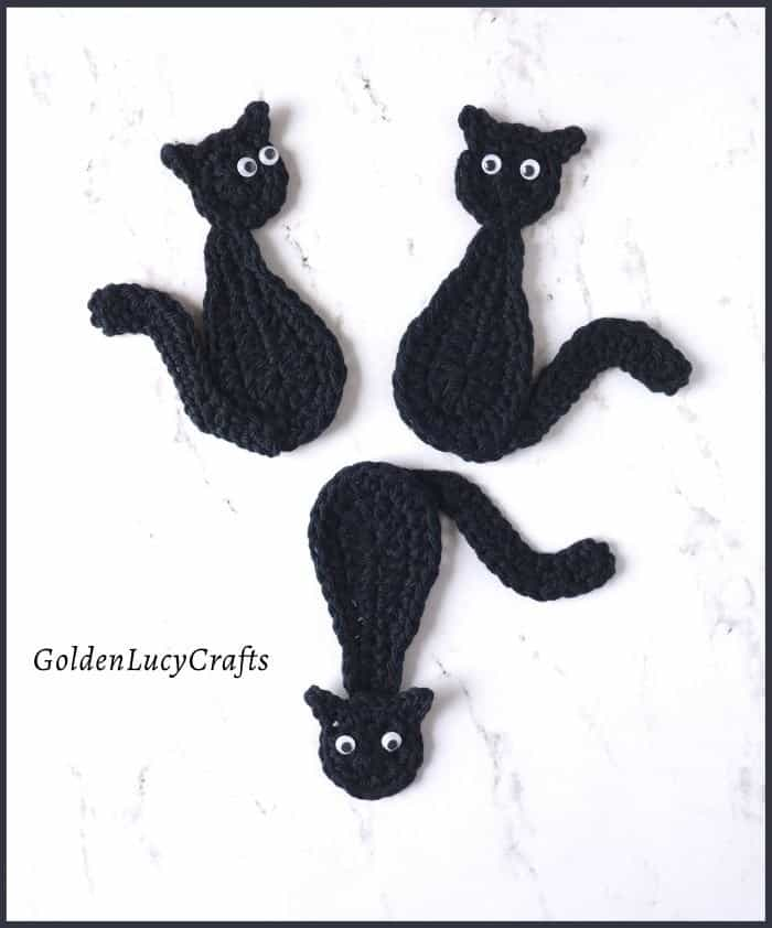 Three black cats, crochet applique