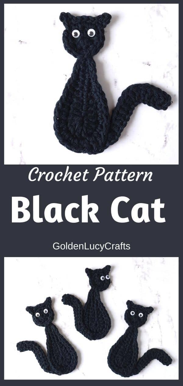 Halloween black cat applique, crochet pattern