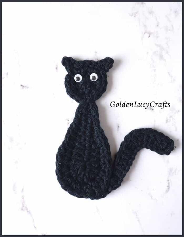 Crochet black cat applique