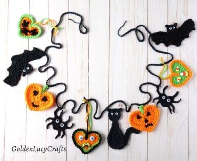 Crochet Halloween bunting, garland