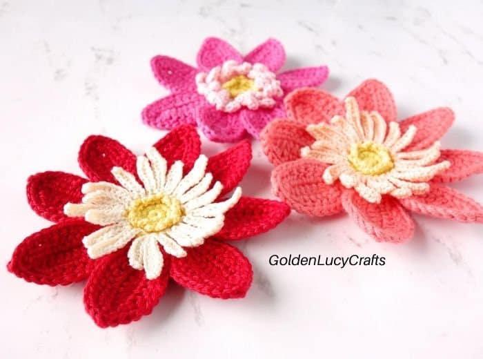 Three crochet dahlia flowers