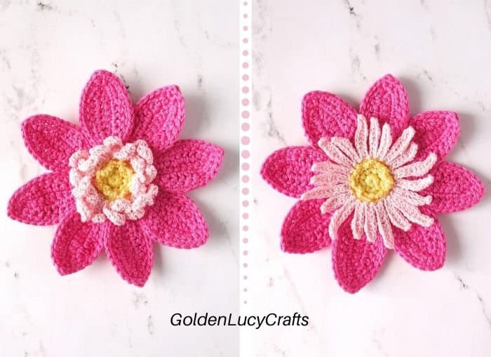 Two pink crochet dahlias