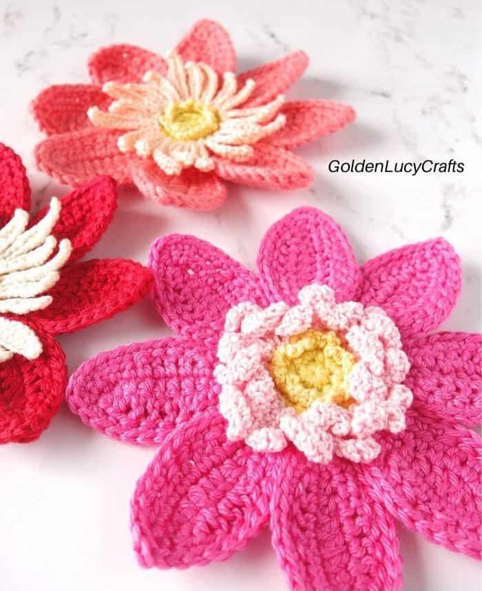 Crochet pink dahlia close-up