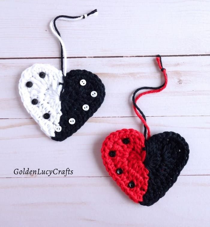 Black and white, red and black crochet two-colored hearts