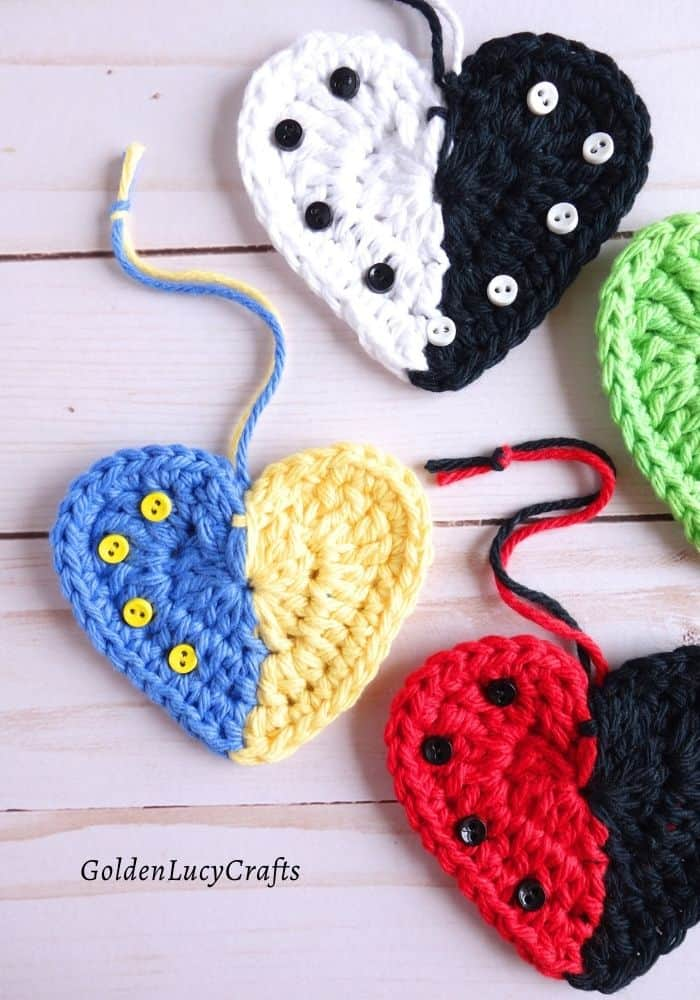 Crochet two-colored hearts close up