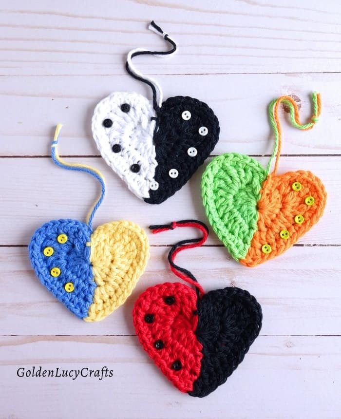 Crochet two-colored hearts