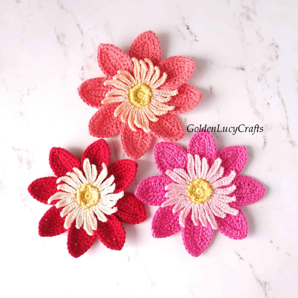 Three crocheted dahlia flowers.