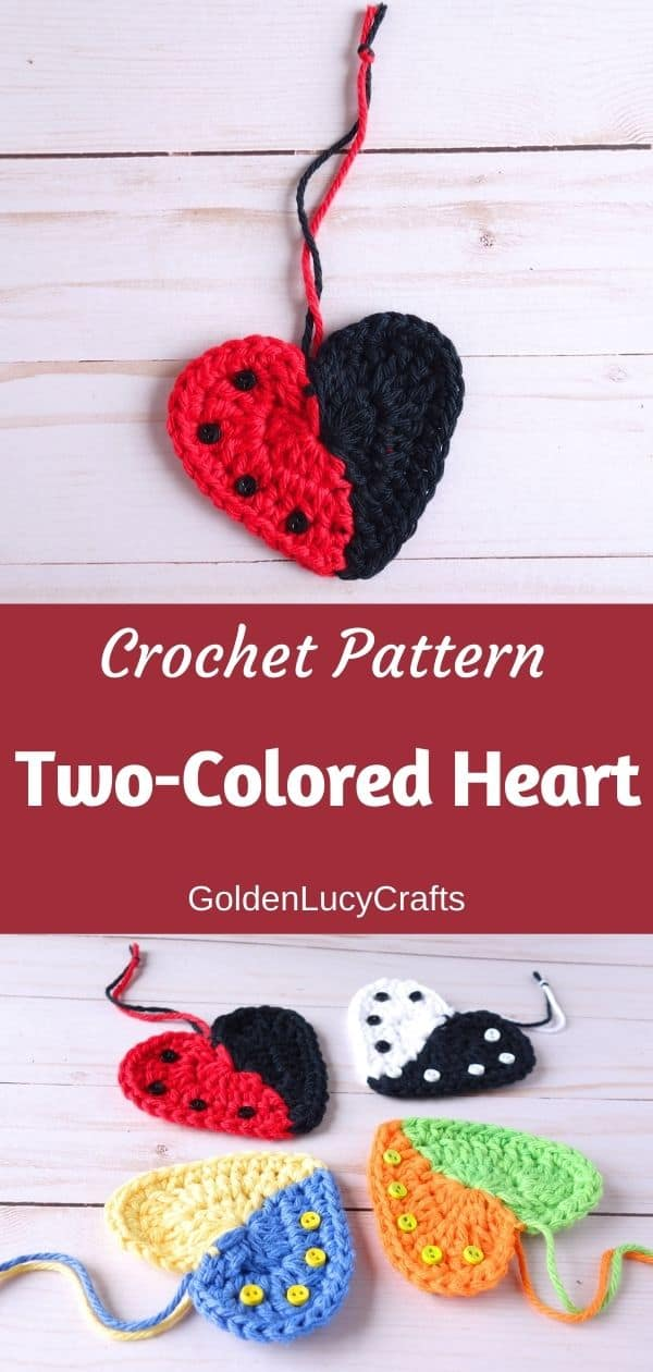 Crochet two-colored hearts pattern