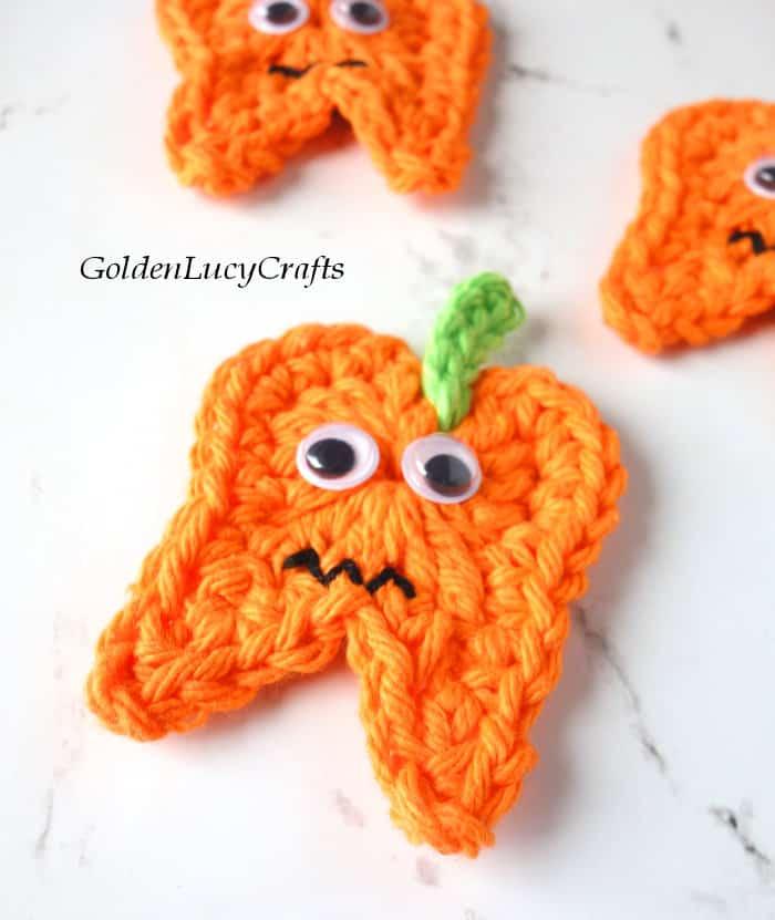 Crochet Halloween tooth pumpkin