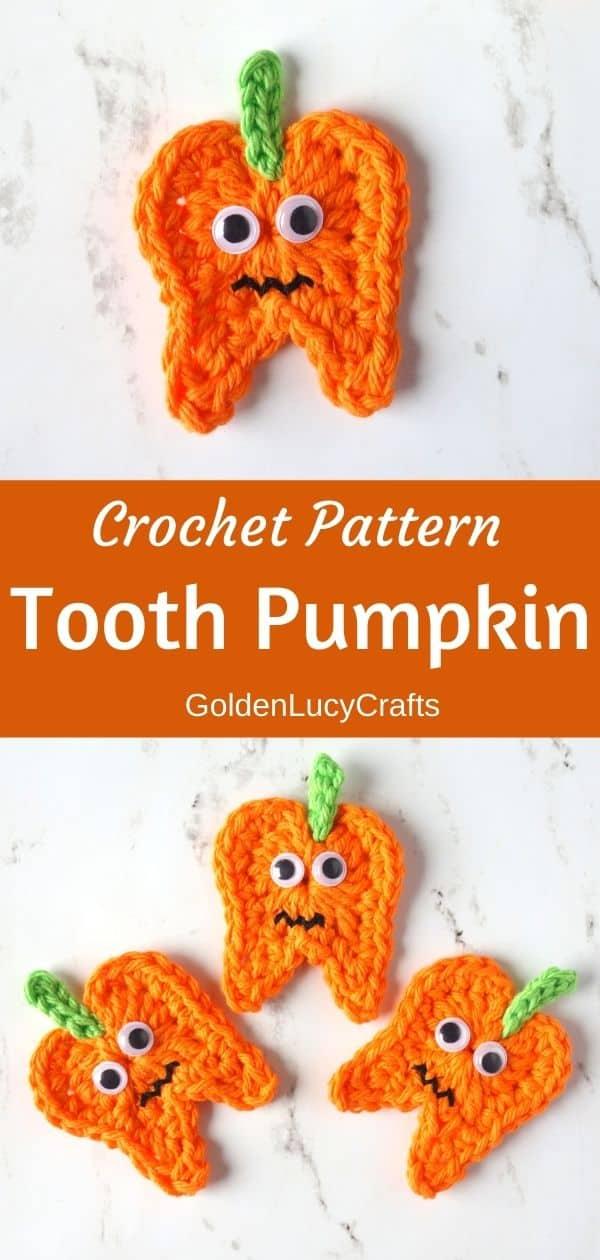 Crochet tooth pumpkin appliques
