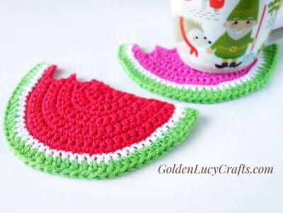 Crochet coasters watermelon