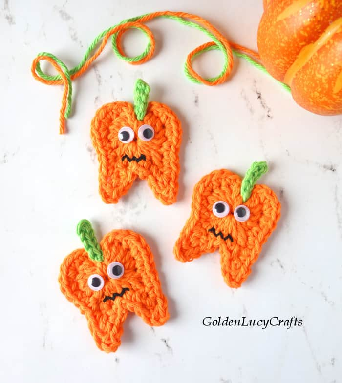 Crochet Halloween tooth pumpkins
