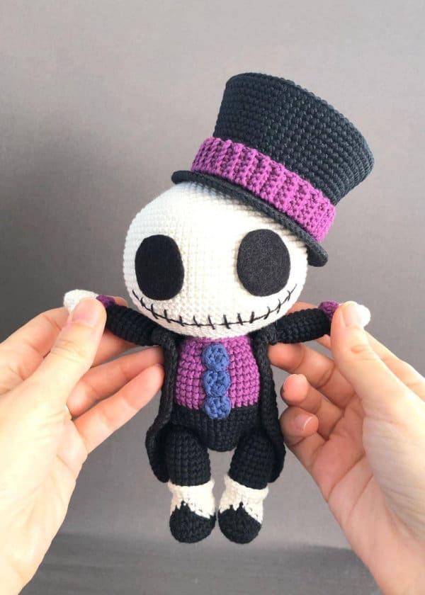 Crochet Halloween Jack Skeleton inspired amigurumi