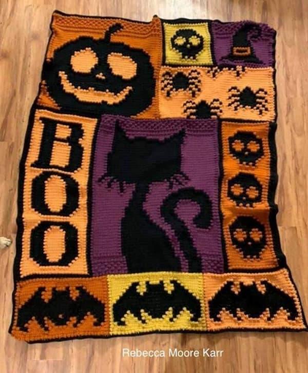 Halloween crochet blanket