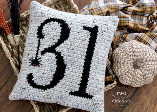 Halloween crochet pillow